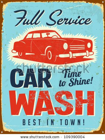 Vintage Metal Sign - Car Wash - Vector Eps10. Grunge Effects Can Be Easily Removed. - 109390004 : Shutterstock