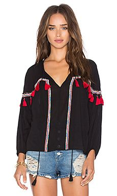 PIPER Bacoor Long Sleeve Tassel Top in Black