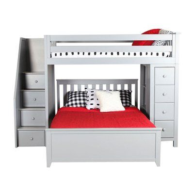 8f2b025f3a32 Zoomie Kids Alvarez Staircase Combo Twin Over Full Loft Bed