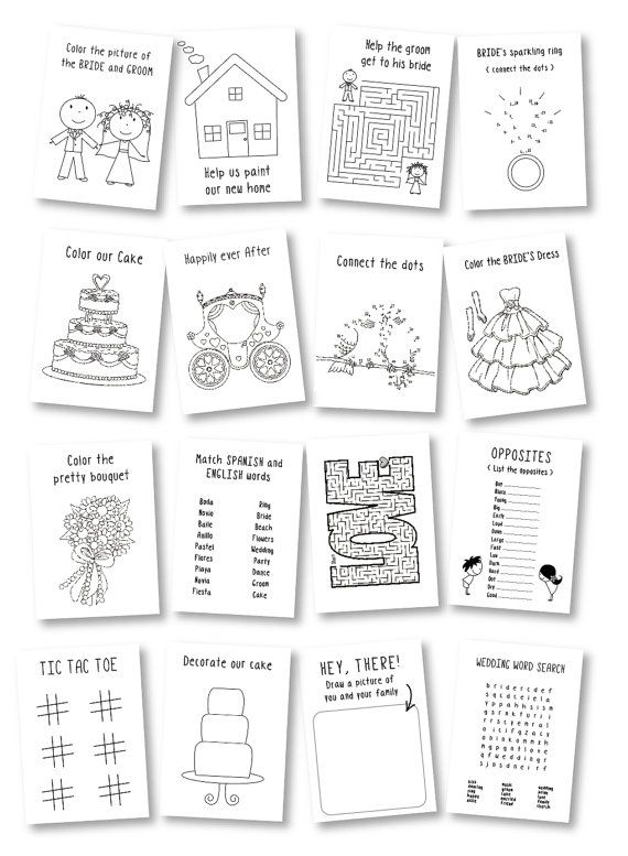 Wedding activity book for Kids / wedding coloring book / rustic wedding favor / kids wedding table / kids wedding activities – Set of 6