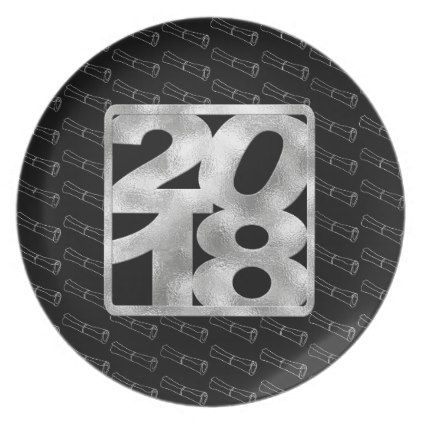 2018 on Silver and Black Color Graduation Diploma Dinner Plate - graduation gifts giftideas idea party celebration
