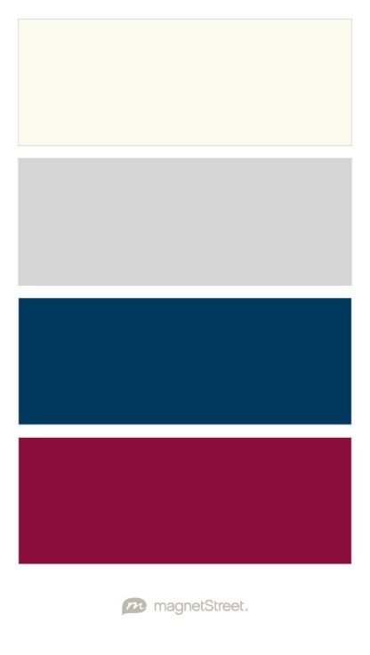 Ivory, Silver, Navy, and Burgundy Wedding Color Palette - custom color palette created at MagnetStreet.com