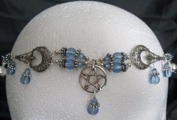 Wassende maan Pentacle Circlet Wicca sieraden door Sheekydoodle
