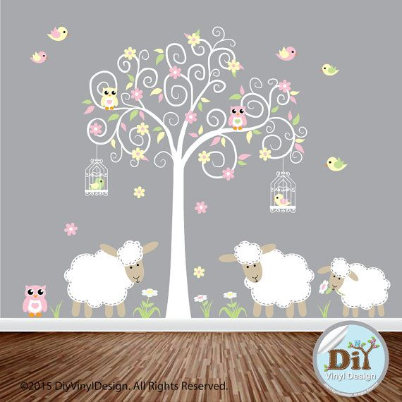 Yellow Green And Pink Vinyl Tree Decal Lambs Owls Birds Flowers Lamb Nursery Theme Wall Art Decals 727151 Nurseries