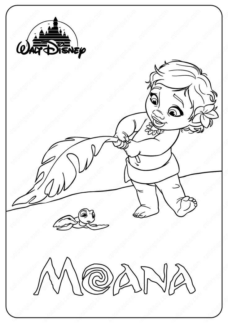 Printable Disney Baby Moana Coloring Pages in 2020   Moana ...