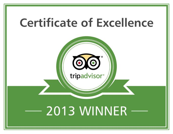 Awarded a Certificate of Excellence by TripAdvisor in 2013.