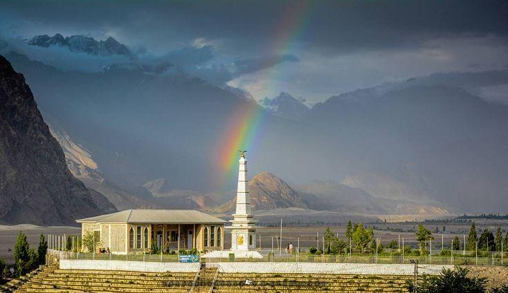 Rainbow over Municipal Library, Skardu City, Gilgit Baltistan, Pakistan. Picture Credits: Imtiaz Hussain
