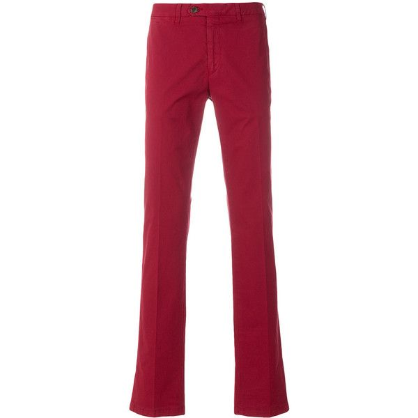 Canali chino trousers (£190) ❤ liked on Polyvore featuring men's fashion, men's clothing, men's pants, men's casual pants, red, mens chinos pants, mens red chino pants, mens chino pants and mens red pants