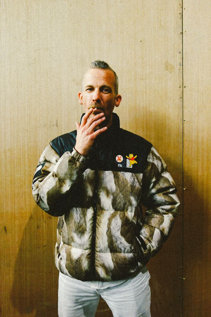JASON DILL with Supreme/North Face jacket LONDON , MARCH 2014  Karl Hab