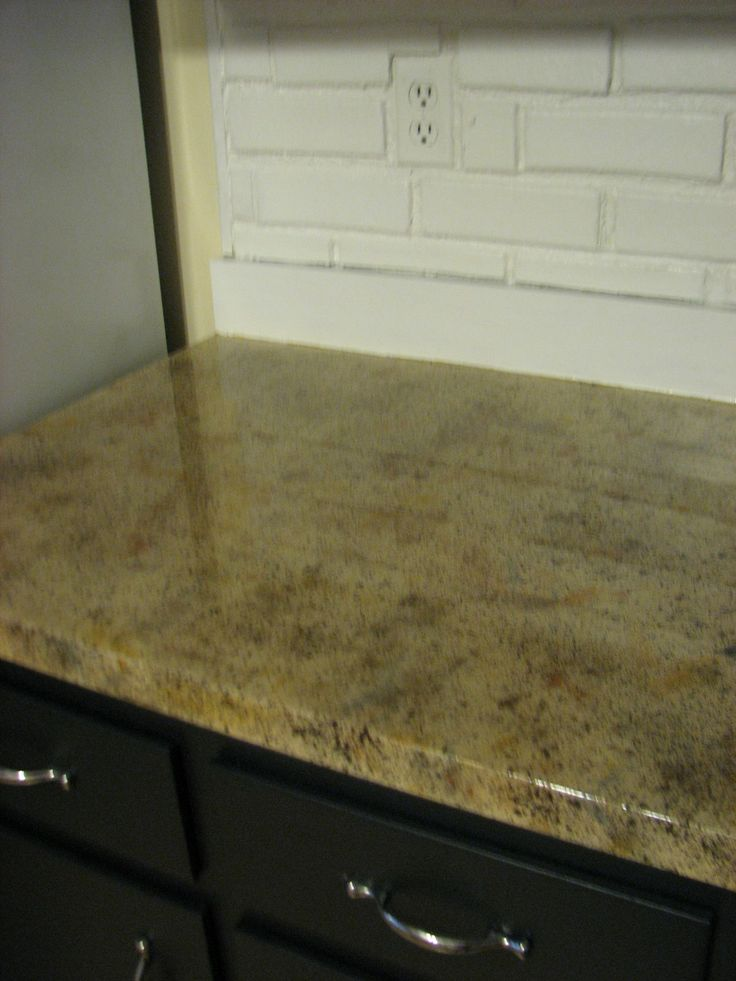 Faux granite painted counter tops our house for Painted countertop ideas