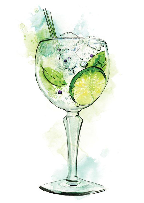 Gin Cocktail Aquarellmalerei Illustration Home Bar Pub Retro Nachtclub Innenarchitektur Getränke Wandkunst Plakatdruck A4 A3 A2 JEDE GRÖSSE