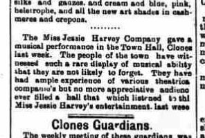 Jessie Havey Company April 17th 1896, Clones.