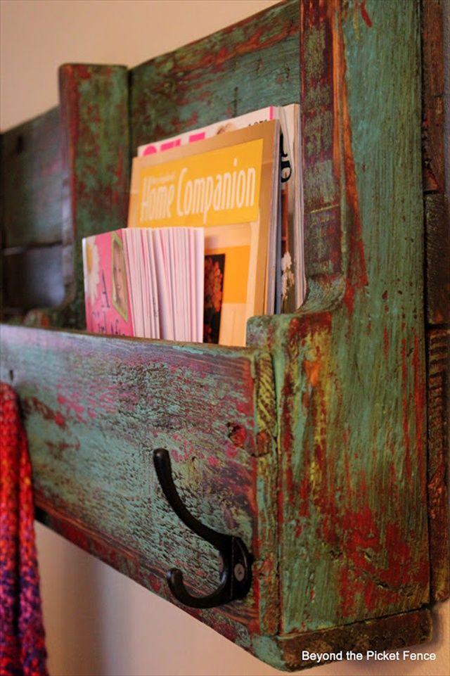 DIY Pallet Wooden Bookshelf  #DIY #Painted #Furniture