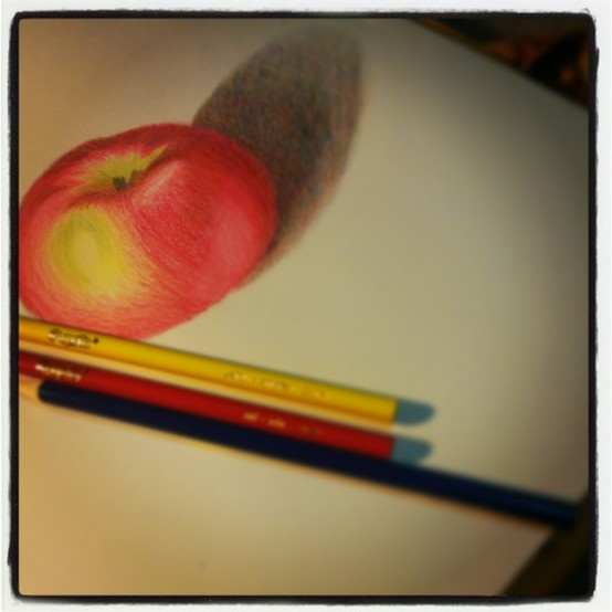 This is a drawing of an apple I created with only the primary colours.  #Art #Coloredpencils #Apple