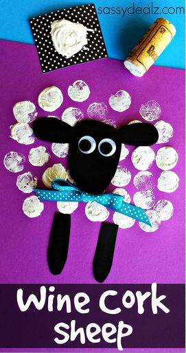 Make a sheep using wine cork prints! All you need is paper, paint, ribbon, and googly eyes to make one! It's a fun activity for a farm theme or for Easter!