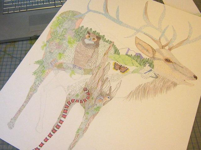 Jill Bliss wacked-out elk.