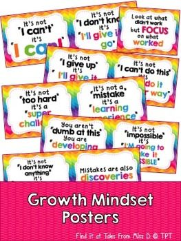 Growth Mindset PostersEncourage a Growth Mindset in your classroom with these bright and colourful posters. There are a total of 11 posters (2 of which can be found for FREE here).If you have any questions or concerns please email me at talesfrommissd@gmail.com.