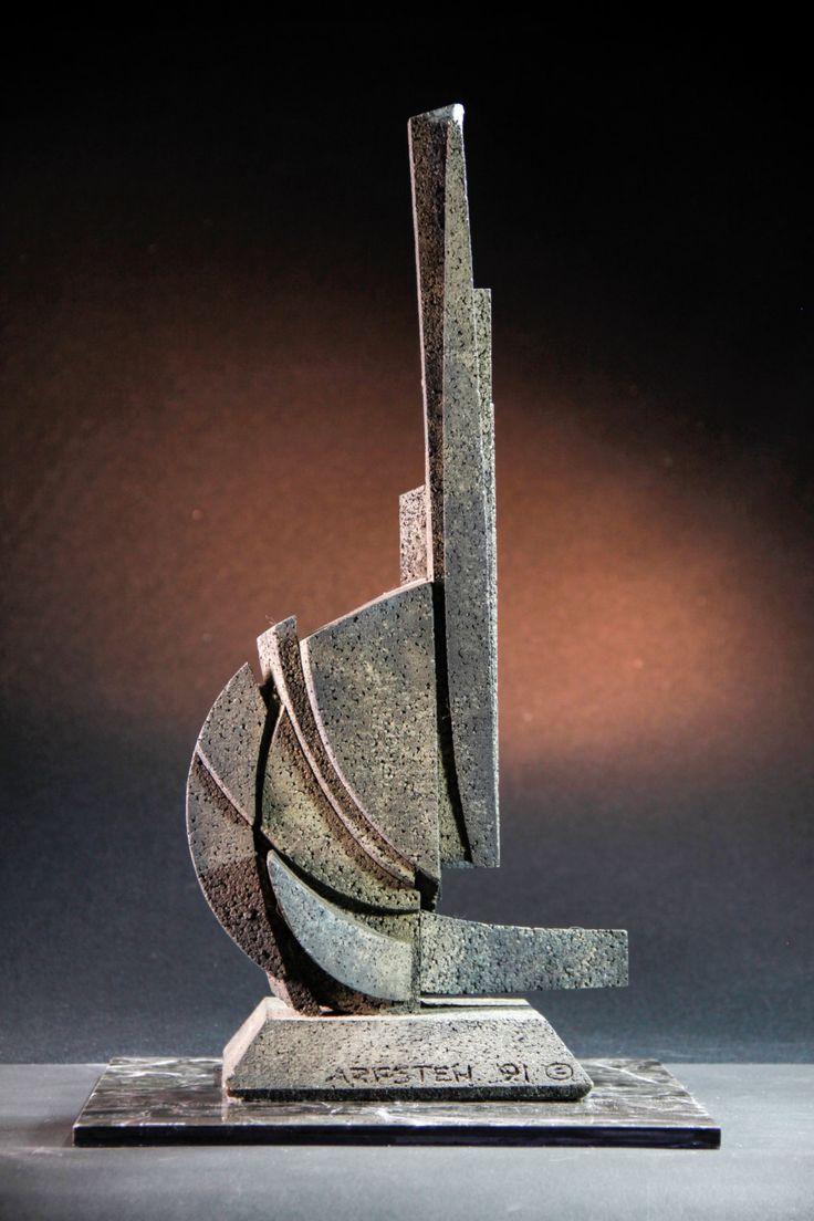Deja Vu - Abstract sculpture maquette, architectural geometric art, monumental statue, cast metal model, modern contemporary, Arfsten by ArfstenAbstractSculp on Etsy https://www.etsy.com/listing/225139437/deja-vu-abstract-sculpture-maquette