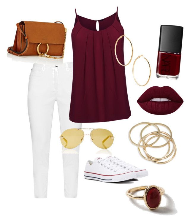 """""""Dress up with white sneakers"""" by syddeon on Polyvore featuring Zhenzi, Converse, GUESS by Marciano, ABS by Allen Schwartz, Chloé, Karen Walker, NARS Cosmetics and Dorothy Perkins"""