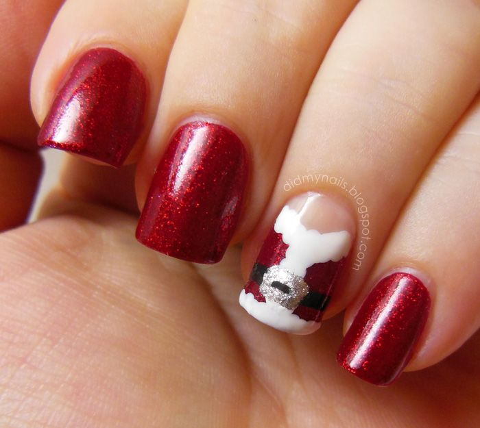 Santa Nail Art: 12 Best Santa Suit Nails Images On Pinterest