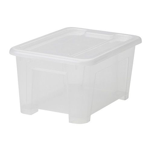 SAMLA Box with lid IKEA The box is made of transparent plastic so you can quickly and easily find what you need.