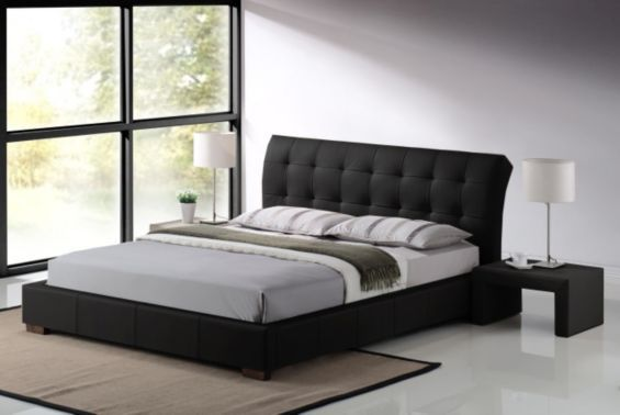 Fabio Designer Black Faux Leather 4ft6 Double Bed Frame £139