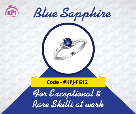 The Blue Sapphire is Saturn's precious gem. This most talked about gem gives the quality of influence and status in society. Code - ‪#‎KPJ‬-FG12 For More Details Visit - http://goo.gl/tHcf5f ‪#‎BlueSapphire‬ ‪#‎FancyGems‬ ‪#‎GemStones‬