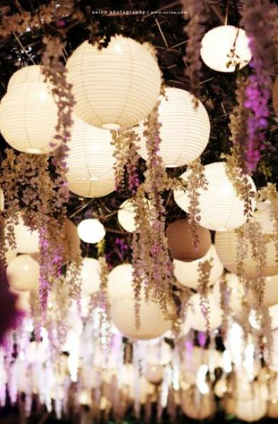 Using paper lanterns to create a romantic, perfectly lit outdoor area