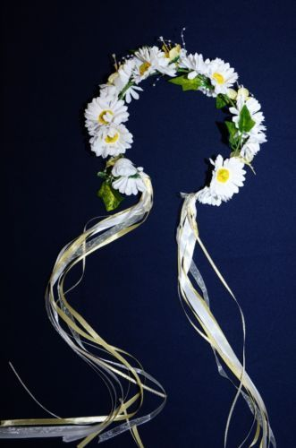 NEW-HEAD-WREATH-Hair-BAND-WHITE-DAISY-SUN-FLOWER-German-Oktoberfest-DIRNDL-Dress