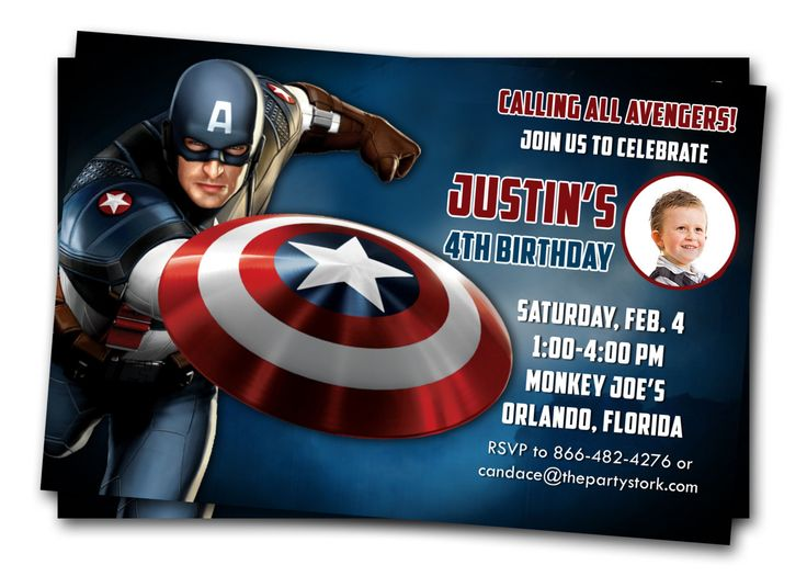 Captain America Invitations Printable Boys Birthday Party