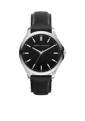 Armani Exchange Ax Men's Men's Stainless Steel Round Leather Strap Watch - Black - One Size