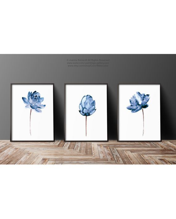 Lotus Flower Illustration Water Flowers Print Floral Painting, Abstract Blue Flower Poster, Watercolor Wall Hanging Navy Wall Decor Set of 3