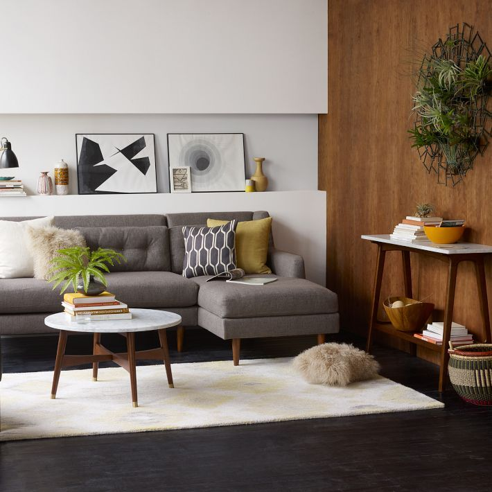 Reeve Mid-Century Coffee Table - Marble/Walnut (West Elm)