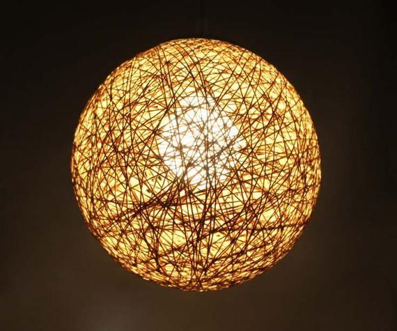 Natural Rattan Hemp Rope Pendant Light Ball Shaped Lighting