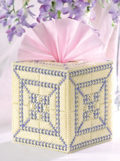 Plastic Canvas - Tissue Topper Patterns - Boutique-Style Patterns - Smyrna Cross Stitch Tissue Cover