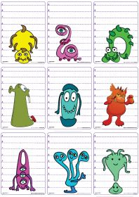 Un jeu de 62 cartes sur le thème des monstres et d'Halloween pour jouer à la bataille en comparant les longueurs et les chiffres de 1 à 9.