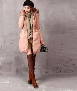 Pink Knitted Patchwork Down Coat