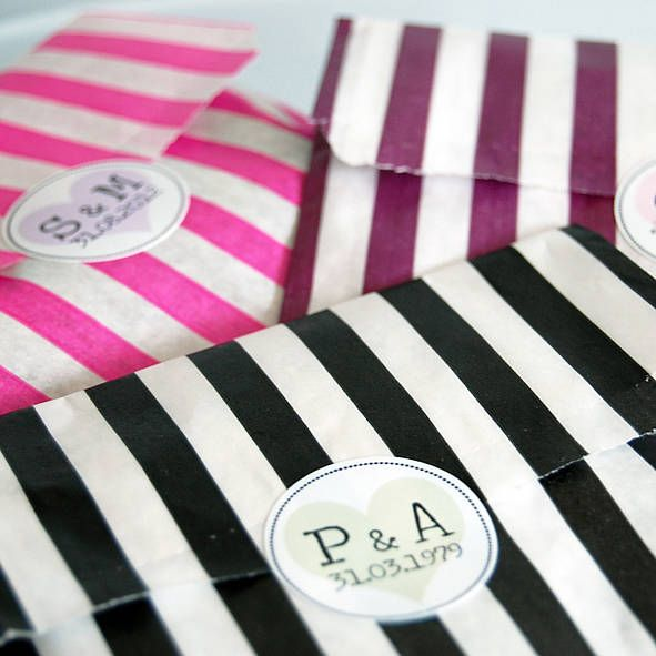 favour bags with personalised stickers by door 77 | notonthehighstreet.com