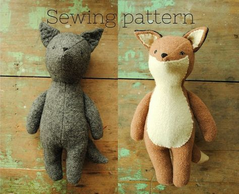 An easy-to-follow digital sewing pattern (downloadable PDF) for making a fox or wolf soft toy - designed by Margeaux Davis from Willowynn.  This vintage-style Fox or wolf soft toy is the perfect companion for a little person. Designed to be endlessly carried around and looks so sweet nestled in amongst a childs pillows. This is the perfect project to use that old wool blanket youve been saving for something special.  The template provided will make a finished fox or wolf measuring…