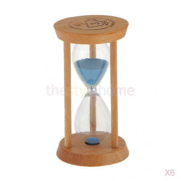 6X Blue Wood Sandglass Timer Math Exercising Hourglass Desk Decoration 3 Minutes