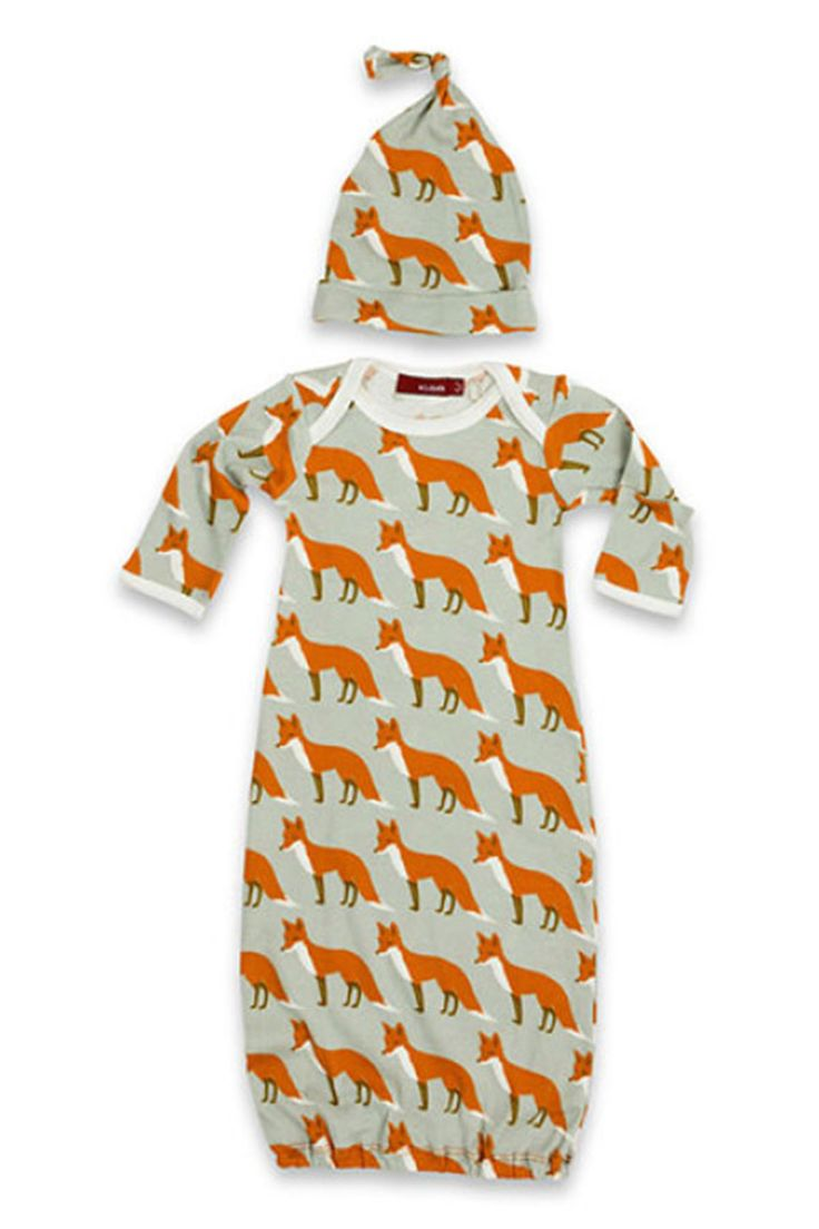 Newborn Gown & Hat Set- Fox