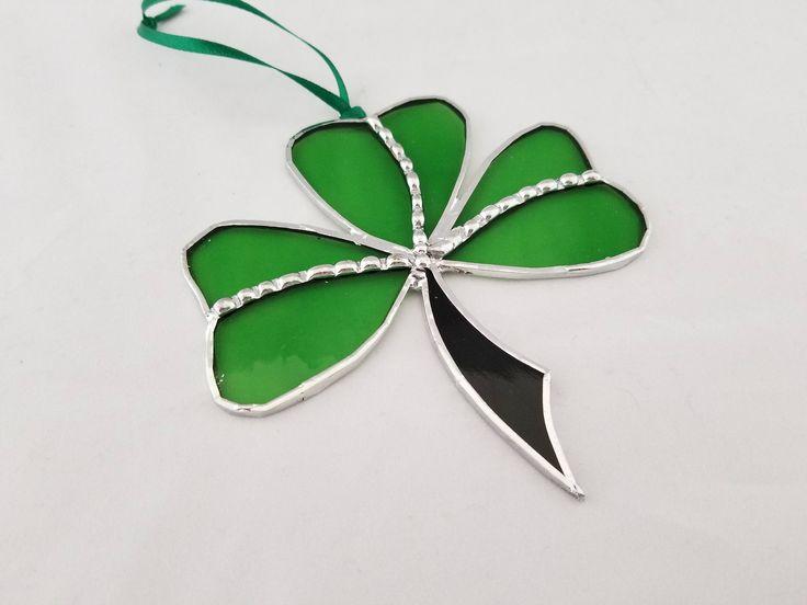 St Patricks Day decor glass shamrock charm by GlassyEyedGals on Etsy #luckycharm #stpatricksday