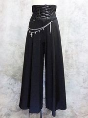 Cross Chain Lace-Up Wide Pants