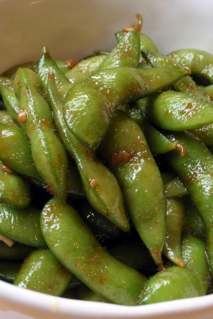 Garlic Teriyaki Edamame. Made this tonight and it was gone in less than 10 minutes. Didn't use the sesame seeds because I forgot but still delicious.