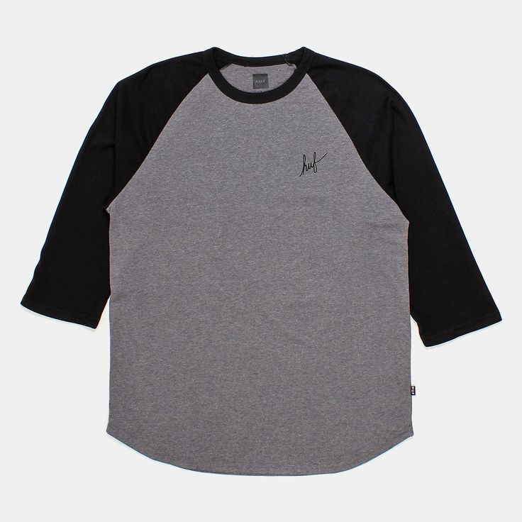 HUF Classic H Script Raglan T-shirt - Grey Heather/Black