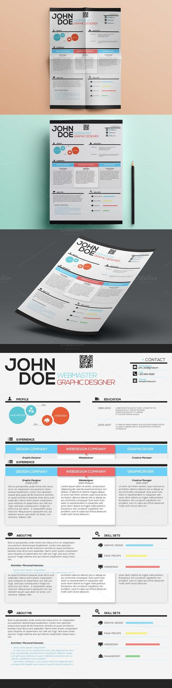 Simple Creative Resume. Stationery Templates