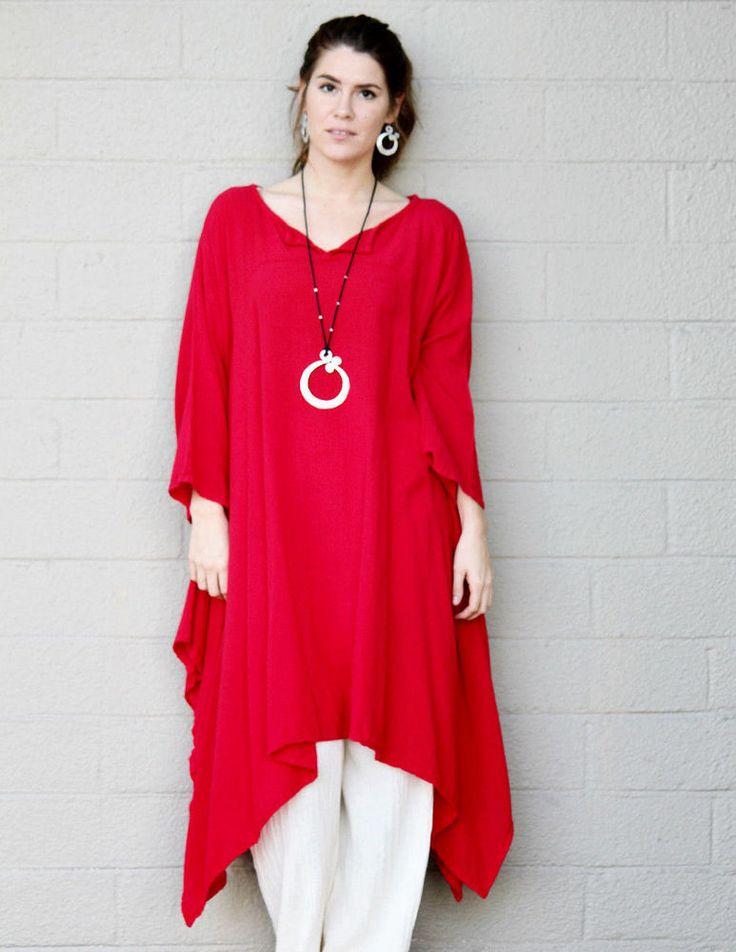 OH MY GAUZE Cotton TIKI Long Kurta Tunic Top OSFM (L/XL/1X/2X/3X) Red CRIMSON #OhMyGauze #LongKurtaTunic