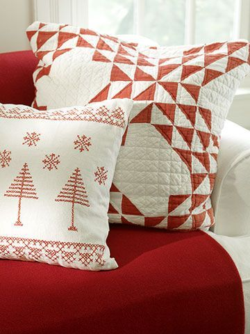 Redwork cross stitch is both traditional and a modern bold graphic accent.