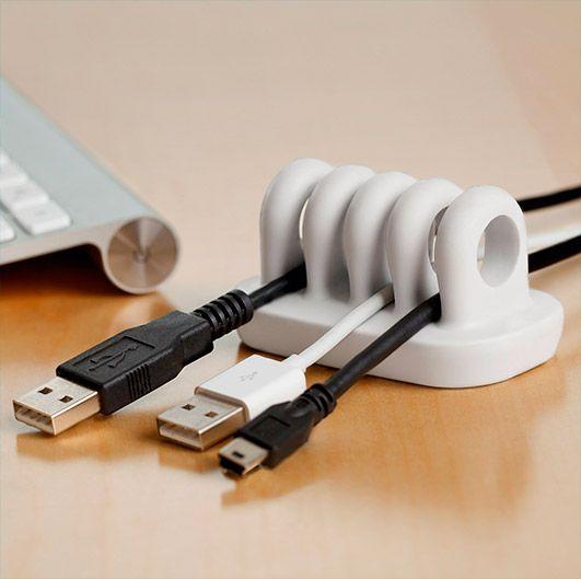 Quirky Organizador de cables para el escritorio Blanco (Cordies White)