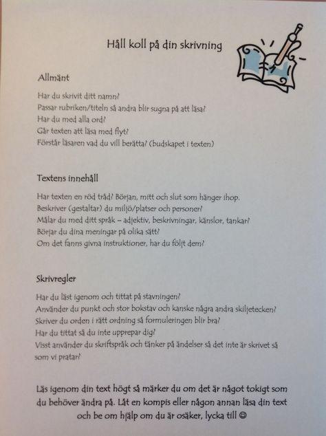 checklista skrivning
